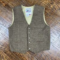 Schaefer Outfitter Brown 100% Wool Western Vest Men's Small Made In USA Cowboy