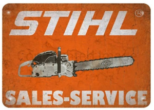 Stihl Chain Saw Tin Sign #1 (Man Cave Garage Den Ford Mopar Blue Oval Bow Tie)
