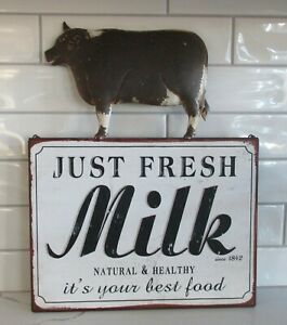 Dairy Milk COW Wall SIGN*Primitive Home/French Country Farmhouse Kitchen Decor
