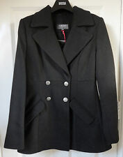 M&S Limited Collection Black SZ 14 Double Breasted Coat with Wool, BNWT, Was £69