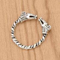 Antique Silver Viking Dragon Rings For Men Adjustable Mythology Gothic Jewelry