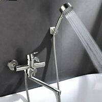 Long Tub Faucet Spout Wall Mount Tub Faucets with Hand Shower Brushed Nickel New