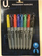 8pc Sharpie Style Permanent Markers Bullet Point Tips Pens Assorted Mix Colours