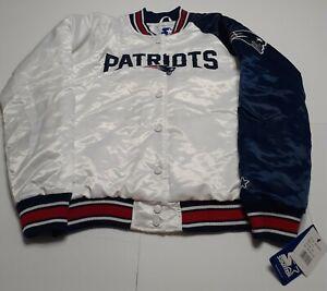 Women's Starter White/Navy New England Patriots Hometown Satin Snap Jacket XL