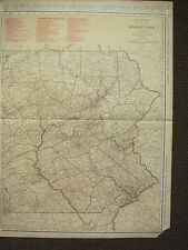 1922 LARGE MAP ~ EASTERN PENNSYLVANIA ~ CITIES RAILROADS ~ RAND MCNALLY