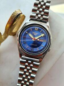 Vintage Blue 1980 SEIKO 5 Men's Japan Automatic Watch 7009-5860