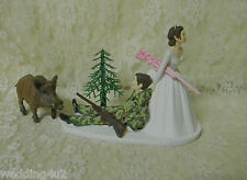 Wedding Party Reception ~Wild Hog Boar~ Redneck Camo Hunter Hunting Cake Topper
