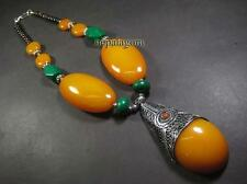 Beads Bone Tribal Pendant Necklace N4683 Handcrafted Bold Amber Resin Chunky