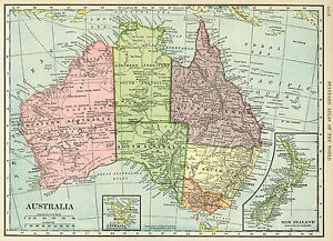 map of Australia full Poster print  world globe art New Zealand satin paper