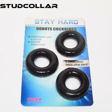 STUDCOLLAR-DONUTS-BLACK - THREE Stretchy Rubber Penis Rings, Erection Aids