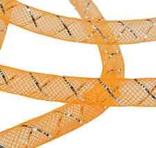 Netzschlauch Orange Silberstreifen 8mm Mesh Netz 3 M Schmuckschlauch BEST C103