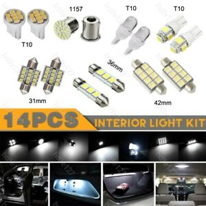 14Pcs LED Interior Package Kit For T10 & 36mm Map Dome License Plate Lights an