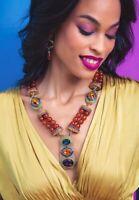 HEIDI DAUS Classically Modern Beaded Enamel & Crystal Deco Necklace