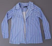 Boohoo Women's Annie Stripe Collared Blazer SH3 Blue Size UK:12 US:8 NWT