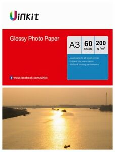 A3 Paper Inkjet Paper High Glossy All in one Print  200Gsm Uinkit - 60 Sheets