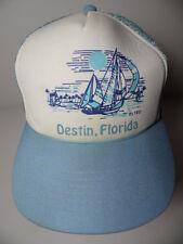 Rare Vintage 1980s Destin Florida Sail Boat Advertising Trucker Snapback Hat Cap