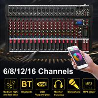 6 8 12 16 Channel Pro Audio Mixer Sound Mixing Console USB Record DJ Bluetooth