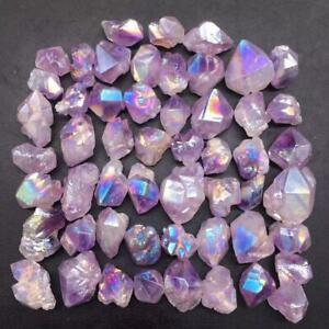 Angel Aura Natural Amethyst Crystal Quartz Cluster Raw Healing Decoration 53Pcs