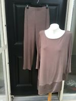 New 2-pc SET Chico's Travelers Renwick Taupe Asymmetrical Top Pants 3 XL 16 NWT