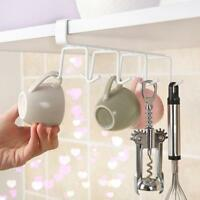 Hooks Cup Holder Hang Kitchen Cabinet Under Shelf Storage Rack Organizer Hook KV
