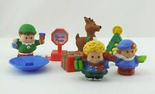 Fisher Price Little People Christmas Mixed Lot Figures Reindeer Sled Tree 8pc