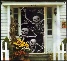 Scary Skeleton Silhouette Door Cover Mural Halloween Decoration