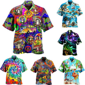 Mens Hawaiian Short Sleeve T Shirts Summer Beach Holiday Baggy Casual Tops Shirt