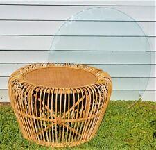 Phenomenal Mid Century Modern Bamboo Rattan Wicker Bentwood Coffee Table w Glass