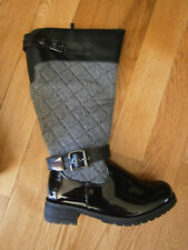 $80 NIB Lane Bryant Size 7 Wide Black Buckle Tweed Rain Boot Buckle Quilted 8