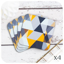 Scandi Geometric Coasters, Grey and mustard coasters, mid century style coasters