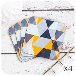 Scandi Geometric Coasters, Grey and mustard coasters, mid century style coasters