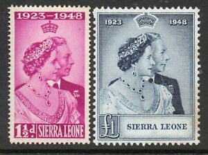 SIERRA LEONE 1948 SILVER WEDDING PAIR *** VERY LIGHTLY MOUNTED cat. £20
