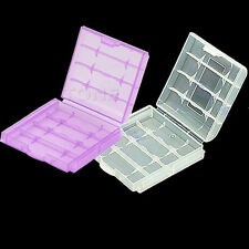 2pcs Hard Plastic Case Cover Holder Storage Box For AA AAA Battery White Purple