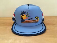 Vintage Aruba Sunset Waves Palm Trees Snapback Hat Mesh Trucker - Designer Award