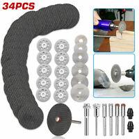 34Pcs Cutting Wheel Set for Mini Drill Dremel Rotary Tool Accessories w/ Mandrel