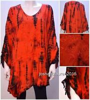 PLUS SIZE BOHO TIE DYE FLORAL KAFTAN TUNIC TOP RED 16 18 20 22 24 26 28 30 32