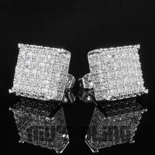 Lab Diamond Micropave Square Stud Earring 8S 18K White Gold Bling Out Iced Aaa