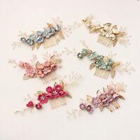Wedding Crystal Crown Hair Combs Leaves Tiara Bridal Clips Flower Hair Pin