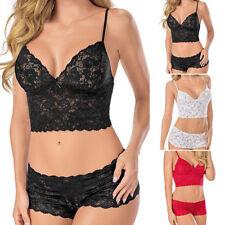 Women's Sexy Lingerie Corset Lace Push Up Vest Top Bra+Pant Set Underwear Suit