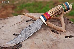 Custom Handmade HAND FORGED DAMASCUS STEEL HUNTING FIX BLADE KNIFE W/STAG HANDLE