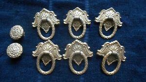 Vintage Ornate Drawer Door Pull Handle Knobs Lot of 8 Old Furniture Salvage