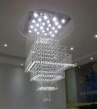 "H55"" Modern Crystal Light Lamp Chandelier Square Rain Drop Lighting Fixture"