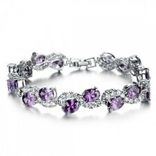 18K White Gold GP made with Made With Swarovski Elements Purple Bangle Bracelet