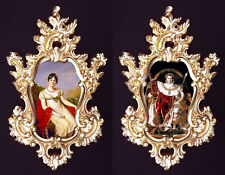 Josephine and Napoleon (red) in Baroque frame.French Royal Family. Wall decor.