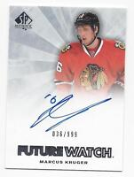 2011-12 SP Authentic autographed hockey card Marcus Kruger, Chicago Blackhawks