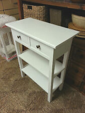 H90 W80 D30cm BESPOKE WHITE CONSOLE HALL TELEPHONE KITCHEN TABLE 2 DRAW 2 SHELF