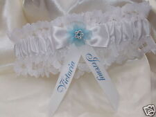 PERSONALISED WEDDING GARTER BRIDE & GROOM NAMES DATE SOMETHING BLUE GIFT BOXED