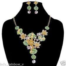 Luxury Art Deco Frog Lotus Dragonfly Necklace Earring Set Multi Austrian Crystal