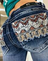 Miss Me Mid Rise Boot Silver Sequin Embellished Womens Denim Jeans sz 0 25 x 32