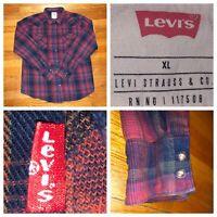 Levi's Men's Red Tab Plaid Long Sleeve Flannel Cotton Slim Fit Shirt Size Large